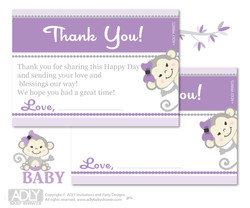 Girl  Monkey Thank you Cards for a Baby  Girl Shower or Birthday DIY  Grey,  Purple