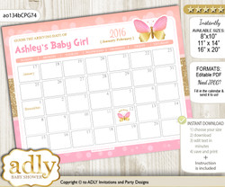 DIY Kisses Butterfly Baby Due Date Calendar, guess baby arrival date game