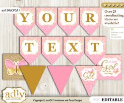 DIY Personalizable Kisses Butterfly Printable Banner for Baby Shower, Coral Pink , Bokeh