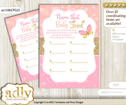 Kisses Butterfly Guess Baby Food Game or Name That Baby Food Game for a Baby Shower, Coral Pink  Bokeh