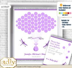 Girl Dragonfly Guest Book Alternative for a Baby Shower, Creative Nursery Wall Art Gift, Purple Grey, Bokeh
