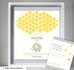 Neutral Elephant  Guest Book Alternative for a Baby Shower, Creative Nursery Wall Art Gift,  Yellow Grey,  Chevron