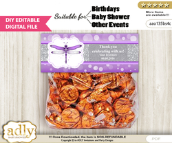 DIY Text Editable Girl Dragonfly Goodie  Treat Bag Toppers, Favor Bag Digital File, print at home