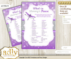 Girl Dragonfly What is in Mommy's Purse, Baby Shower Purse Game Printable Card , Purple Grey,  Bokeh