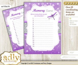 Girl Dragonfly Memory Game Card for Baby Shower, Printable Guess Card, Purple Grey, Bokeh