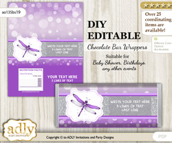 DIY Personalizable Girl Dragonfly Chocolate Bar Candy Wrapper Label for Girl  baby shower, birthday Purple Grey , editable wrappers