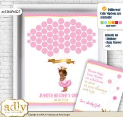 African Princess Guest Book Alternative for a Baby Shower, Creative Nursery Wall Art Gift, Crown, Chevron