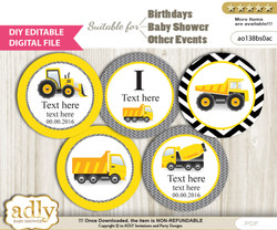DIY Text Editable Truck Construction Cupcake Toppers Digital File, print at home, suitable for birthday, baby shower, baptism