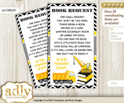 Request a Book Instead of a Card for Truck Construction Baby Shower or Birthday, Printable Book DIY Tickets, Chevron, Yellow Black