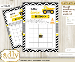 Printable Yellow Black Construction Bingo Game Printable Card for Baby Truck Shower DIY grey, Yellow Black, Chevron