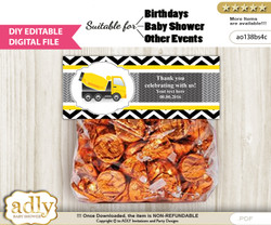 DIY Text Editable Truck Construction Goodie  Treat Bag Toppers, Favor Bag Digital File, print at home