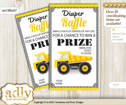 Truck Construction Diaper Raffle Printable Tickets for Baby Shower, Yellow Black, Chevron