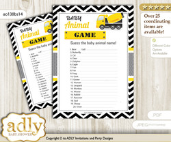 Printable Truck Construction Baby Animal Game, Guess Names of Baby Animals Printable for Baby Construction Shower, Yellow Black, Chevron