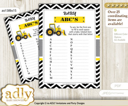 Truck Construction Baby ABC's Game, guess Animals Printable Card for Baby Construction Shower DIY – Chevron