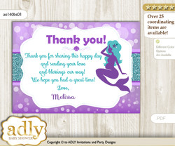 Sea Mermaid Thank you Printable Card with Name Personalization for Baby Shower or Birthday Party