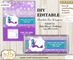 DIY Personalizable Sea Mermaid Chocolate Bar Candy Wrapper Label for Sea  baby shower, birthday Purple Teal , editable wrappers