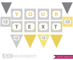 Personalized  Neutral Elephant  Printable Banner for Baby Shower, Yellow Grey,  Chevron