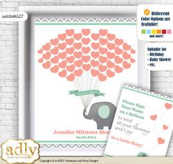 Unisex Elephant Guest Book Alternative for a Baby Shower, Creative Nursery Wall Art Gift, Peach Mint, Chevron