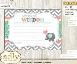 Peach Mint Unisex Elephant Words of Wisdom or an Advice Printable Card for Baby Shower, Chevron
