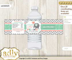 Unisex Elephant Water Bottle Wrappers, Labels for a Elephant  Baby Shower, Peach Mint, Chevron