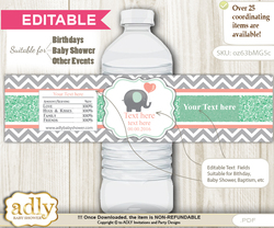 DIY Text Editable Unisex Elephant Water Bottle Label, Personalizable Wrapper Digital File, print at home for any event