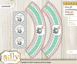 Printable Unisex Elephant Cupcake, Muffins Wrappers plus Thank You tags for Baby Shower Peach Mint, Chevron