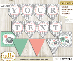 DIY Personalizable Unisex Elephant Printable Banner for Baby Shower, Peach Mint, Chevron