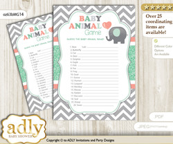 Printable Unisex Elephant Baby Animal Game, Guess Names of Baby Animals Printable for Baby Elephant Shower, Peach Mint, Chevron
