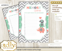 Unisex Elephant Memory Game Card for Baby Shower, Printable Guess Card, Peach Mint, Chevron