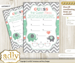 Unisex Elephant Dirty Diaper Game or Guess Sweet Mess Game for a Baby Shower Peach Mint, Chevron