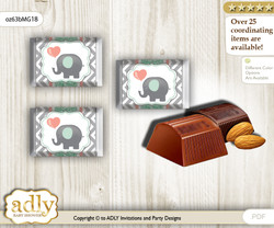 Unisex Elephant Chocolate Nuggets Candy Wrapper Label for Baby Unisex Shower  Peach Mint , Chevron