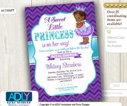 Purple Teal African American Princess Baby Shower