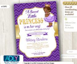 African American Princess,Purple Gold Baby Shower Digital invitation with Chevron Pattern
