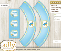 Printable Boy Angel Cupcake, Muffins Wrappers plus Thank You tags for Baby Shower Gold Blue, Heaven
