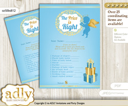 Printable Boy Angel Price is Right Game Card for Baby Angel Shower, Gold Blue, Heaven