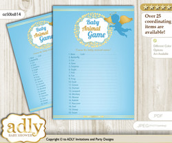 Printable Boy Angel Baby Animal Game, Guess Names of Baby Animals Printable for Baby Angel Shower, Gold Blue, Heaven