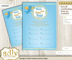 Boy Angel Guess Baby Food Game or Name That Baby Food Game for a Baby Shower, Gold Blue Heaven