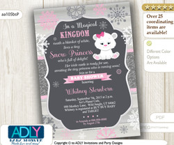 Winter  Snow Princess Polar Bear Baby Shower Invitation, icicle castle