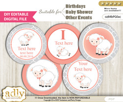 DIY Text Editable Girl Lamb Cupcake Toppers Digital File, print at home, suitable for birthday, baby shower, baptism
