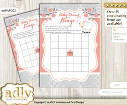 Printable Peach Grey Lamb Bingo Game Printable Card for Baby Girl Shower DIY grey, Peach Grey, Coral