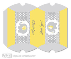 Neutral Elephant Pillow Box for Candy, Little Treats or Small Gift of any Baby Shower or Birthday,  Yellow Grey ,  Chevron