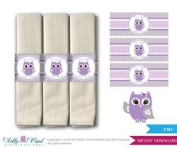 Printable Purple Owl Napkin Ring Label or Napkin Holders for Baby Shower, Grey, Chevron