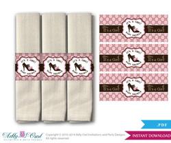 Gucci Girl Vintage Napkin Ring Label Printable for Baby Vintage Shower DIY Pink Brown
