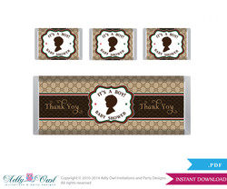 Gucci Boy Fashion Chocolate Bar Wrapper and Nuggets Candy Wrapper Printable Label for Baby Boy Shower DIY Brown Red , Gucci