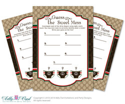 Gucci Boy Fashion Dirty Diaper Game, Guess Sweet Mess for Baby Shower Printable Card for Baby Fashion Shower DIY Brown Red Gucci