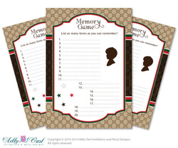 Gucci Boy Fashion Memory Game for Baby Shower Printable Card for Baby Fashion  Shower DIY Brown Red Gucci - ONLY digital file