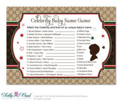 Gucci Boy Fashion Celebrity Name Game, Guess Celebrity Baby Name game, famous baby names  Fashion  Shower DIY Brown Red Gucci