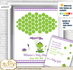 Girl Frog Guest Book Alternative for a Baby Shower, Creative Nursery Wall Art Gift, Green Purple, Polka