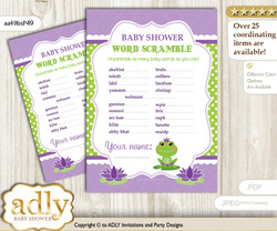 Girl Frog Word Scramble Game for Baby Shower