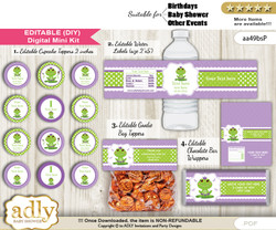 DIY Text Editable Girl Frog Baby Shower, Birthday digital package, kit-cupcake, goodie bag toppers, water labels, chocolate bar wrappers